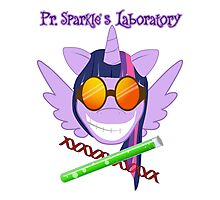 Pr. Sparkle's Laboratory - with text, & white phone case Photographic Print
