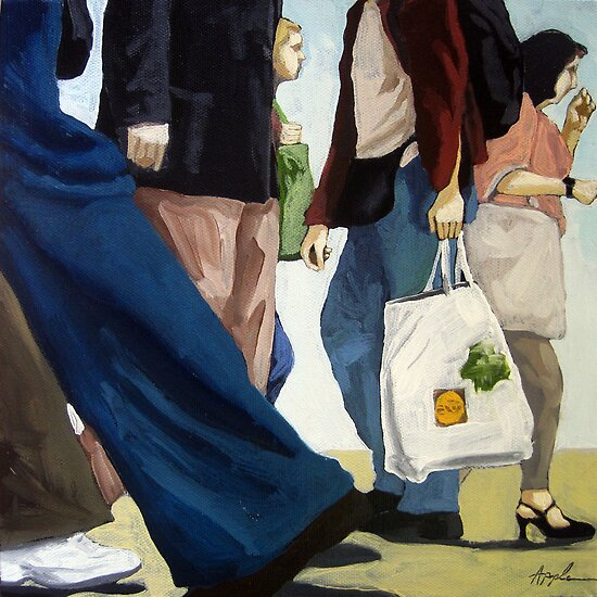Downtown - busy day figurative oil painting by LindaAppleArt