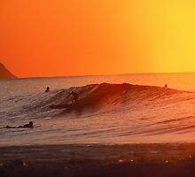 Gold Skies over North Shore Wave by printscapes