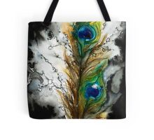 Abstract Watercolor Peacock Feather Tote Bag