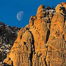 Red Rock Canyon Moon Set by Gregory J Summers