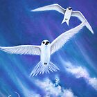 Flying High Fairy Terns - greeting card by Emi Nakamura