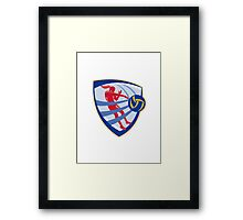 Volleyball Player Spiking Ball Crest Framed Print