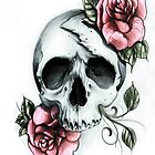 Drawn Skull and ROSES by ToniHawkins