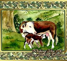 Hereford Cow And Calf Blank Christmas Card by Oldetimemercan