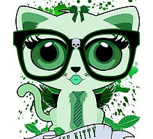 Nice Kitty - White & Green by Adamzworld