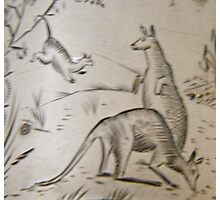 Possum and Kangaroos engraving on silver, circa 1880 Photographic Print