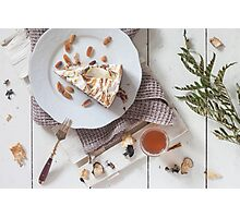 A Slice Of Cake With A Glass Of Tea Photographic Print