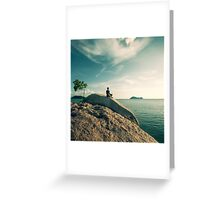 Man Meditating By The Ocean Greeting Card