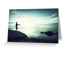 Sunset Yoga in Blue Tones Greeting Card