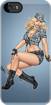 Army Military Pinup Girl in Camo by Al Rio by alrioart