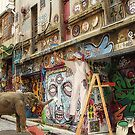 Graffiti Artists at Work in Hosier Lane Melbourne  by Pauline Tims