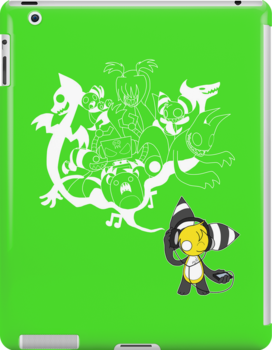 Music Demon Green iPad Case (White Outline) by NeroStreet