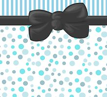 Ribbon, Bow, Dots, Spots, Stripes - Blue White Gray by sitnica