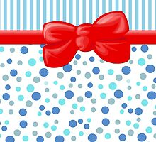 Stripes Dots Spots, Ribbon and Bow, Blue White Red by sitnica