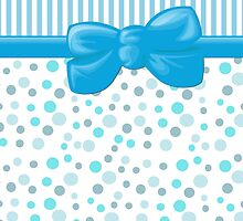 Stripes Dots Spots, Ribbon and Bow, Blue White  by sitnica
