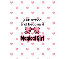 kawaii quit school become a magical girl melty text Photographic Print