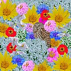 Owl and flowers in color by Carolyn Clark