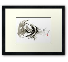 Geisha dancer dancing girl Japanese woman original painting  Framed Print