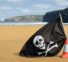 golden beach with jolly roger flag by morrbyte