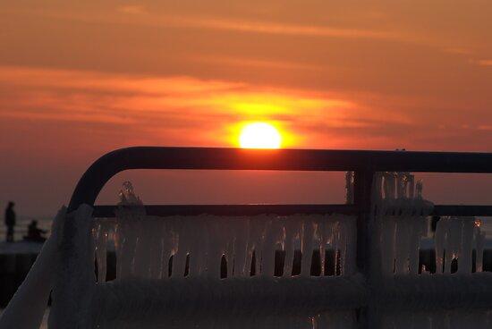 Sunset on Lake Michigan at St Joseph North Pier - 11 by Debbie Mueller
