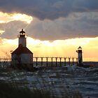 Sunset on Lake Michigan at St Joseph North Pier - 8 by Debbie Mueller