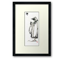 Buddhist monk with a bowl zen calligraphy 禅 original ink painting artwork Framed Print