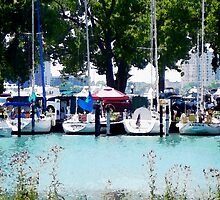 Sailboats Docked In Detroit by perkinsdesigns