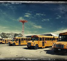 Yellow school buses photographed in Kodachrome by Reinvention