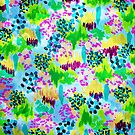 LAGOON LOVE 2 - Bright Blue Green Colorful Abstract Acrylic Waterscape Floral Pattern Nature Theme  by EbiEmporium