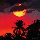 Crimson Sunset In Tropics by BrianJoseph