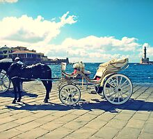 Taking a rest: Horse and Buggy in Crete, Greece by Susan Wellington