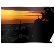 Over Rooftops Sun Is Rising Poster