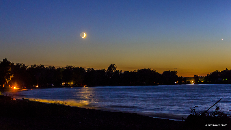 Crescent Moon Setting Over Crescent Beach by Mikell Herrick