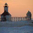 Sunset on Lake Michigan at St Joseph North Pier - 7 by Debbie Mueller