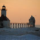 Sunset on Lake Michigan at St Joseph North Pier - 6 by Debbie Mueller