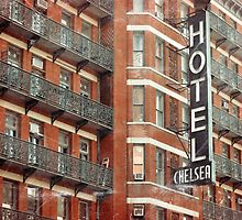 Facade of the Chelsea Hotel with neon sign  by Reinvention