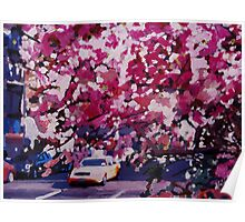 Cab and Flower Trees in New York City Poster