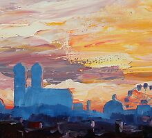 Munich Skyline at Dusk with Alps by artshop77