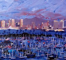 San Diego Skyline with Marina at Dusk by artshop77