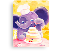 Baking - Rondy the Elephant making a delicious cake Canvas Print