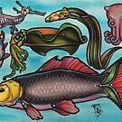 deep sea creatures and carp, tattoo flash sheet by resonanteye