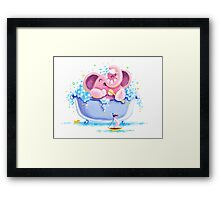 Bath Time - Rondy the Elephant taking a bubble bath Framed Print