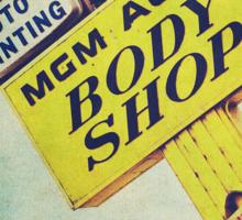 MGM Auto Body Shop Vintage Sign Sticker