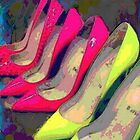 Hot Pink Yellow Heels  by Arts4U