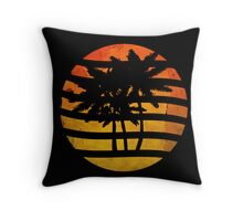 Palm Trees Grunge Sunset Throw Pillow