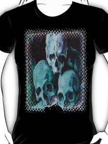 Happy Halloween Pile of Skulls in Teal Greeting Card T-Shirt