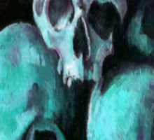 Happy Halloween Pile of Skulls in Teal Greeting Card Sticker