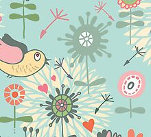Illustrated Birds and Spring Flowers by pjwuebker