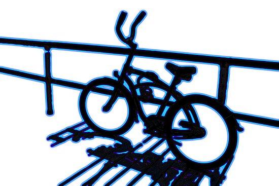 Boardwalk Bicycle Blue by GalleryThree